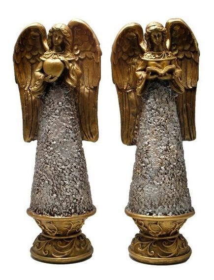 Anjos Prata E Dourado Com Coração E Livro