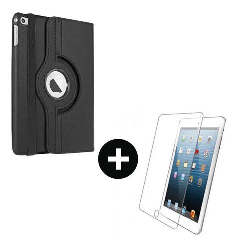 iPad Air 1 - iPad 5 Giratorio 360 En Cuero + Vidrio Templado