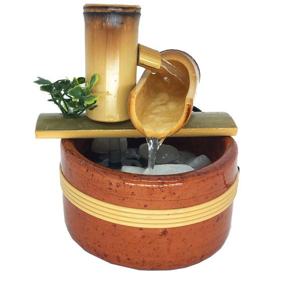 Fonte Artesanal Decorativa Água Bambu Natural Decoração
