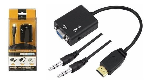 Hdmi Para Vga Com Áudio P2 Conversor Adaptador De Vídeo