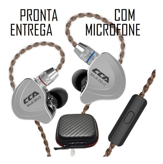 Fone Cca C10 - Kz Zs10 Upgraded - 10 Drivers Com Microfone