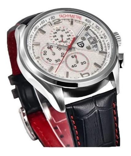 Relógio Pulseira De Couro Cronógrafo Pagani Design 3306