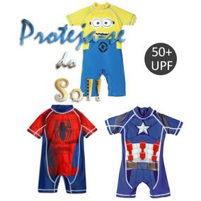 Blusa Macacão Banho Proteção Solar Super Herois Infantil Sol