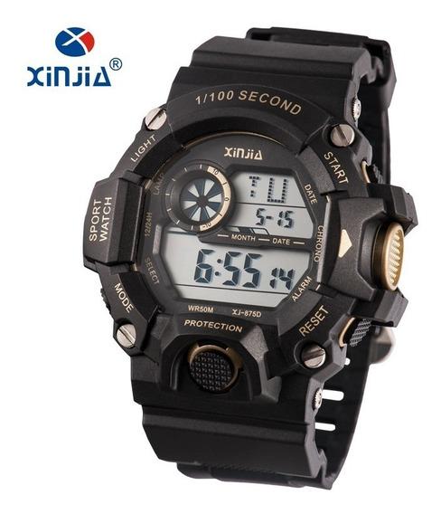 Relógio Masculino Preto C/ Dourado Xj-875d Barato