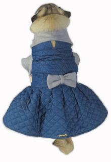 Vestido De Cachorro/ Gato Inverno Frio Jeans Matelasse +laço