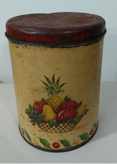 Lata Vazia Antiga Decorativa De Frutas