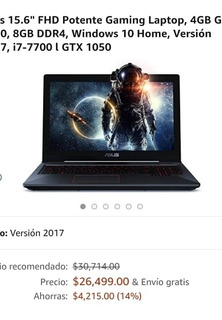 Asus 15.6 Fhd Potente Gaming Laptop 4gb Gtx Version 2017