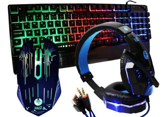 Kit Gamer Haiz Teclado Mouse E Fone Headset 5.1 Luz Led Hz28