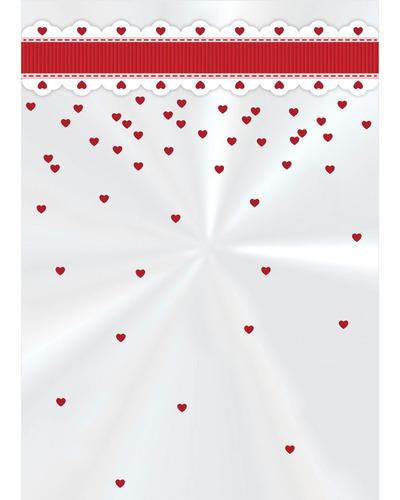 50 Sacos Poli Transparente 10x14cm Cute Corações Vermelho