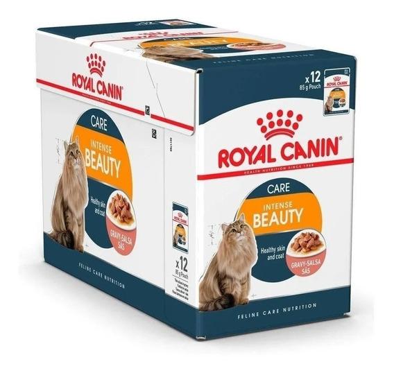 Combo 12un Sachê Royal Canin Intense Beauty 85g Cada