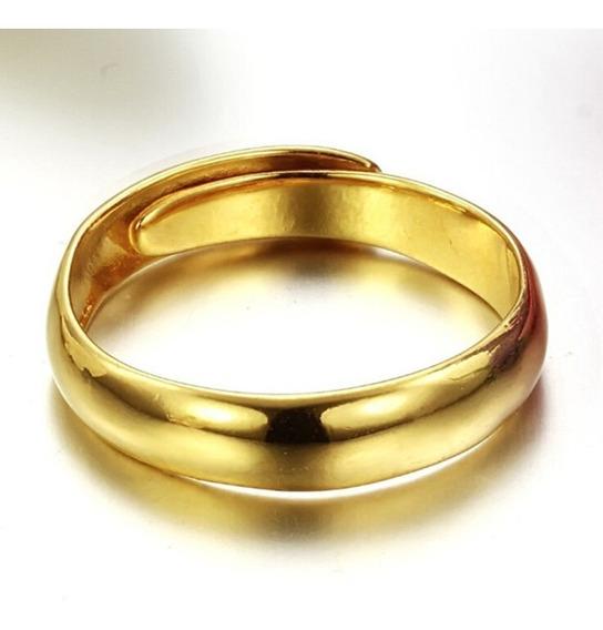 Par De Aliança Tamanho Ajustável Banhada Cor De Ouro