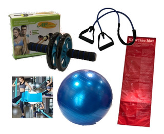 Kit Entrenamiento Fitness Colchoneta + Pelota Bandas Rueda