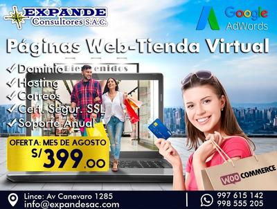 Diseño Páginas Web Y Tienda Virtual Oferta: S/ 399 Inc. Igv