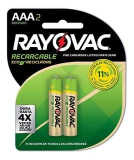 Pack 2 Pilas Recargables Rayovac Aaa 800mah Eco Recicladas