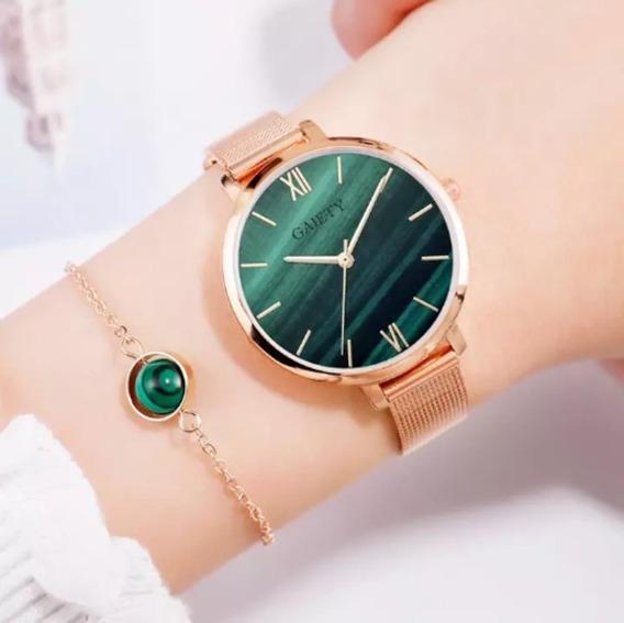 Relógio Feminino Gaiety Pulseira Rosa Ouro