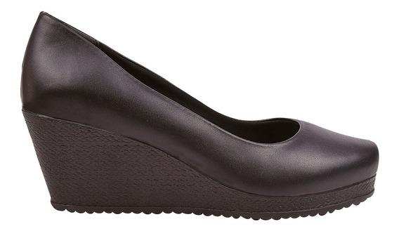 Sapato Feminino Scarpin Anabela Salto Preto Eleganteria