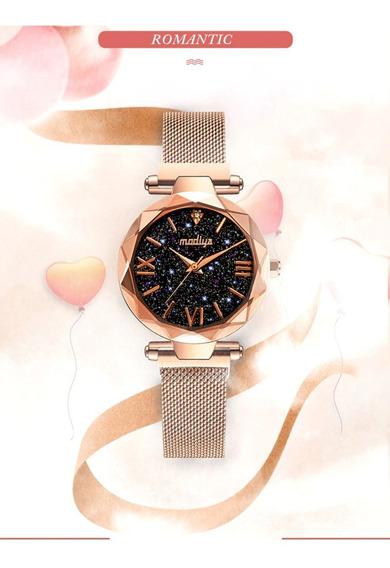 Relógio Feminino Fundo Estrelado