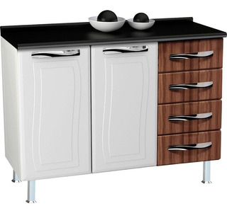 Balcão De Cozinha, Em Aço, 4 Gavetas, 2 Portas, Puxadores Em Abs - Colormaq Ipanema Master