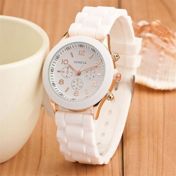 Relógio Feminino Casual Esporte Silicone Branco