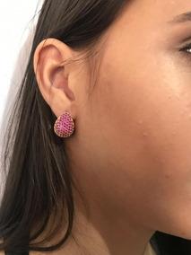Brinco Cravejado De Zirconia Gota Feminino - Cor Rosa