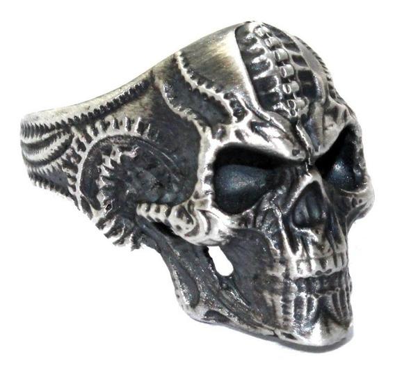 Anel De Prata Caveira Biomecânica - Cranio Prata 950