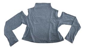 Blusa Cropped Lisa Manga Longa Ombro De Fora Gola Alta Frio