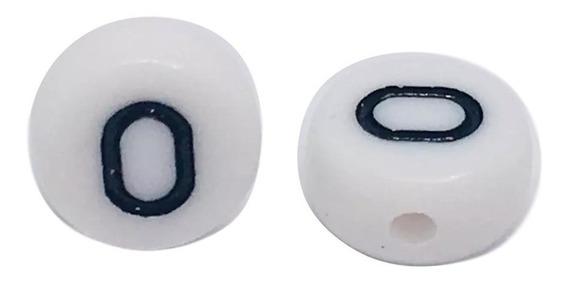 Letra O Tipo Luneta Acrílico Blanco Con Negro 100 Piezas