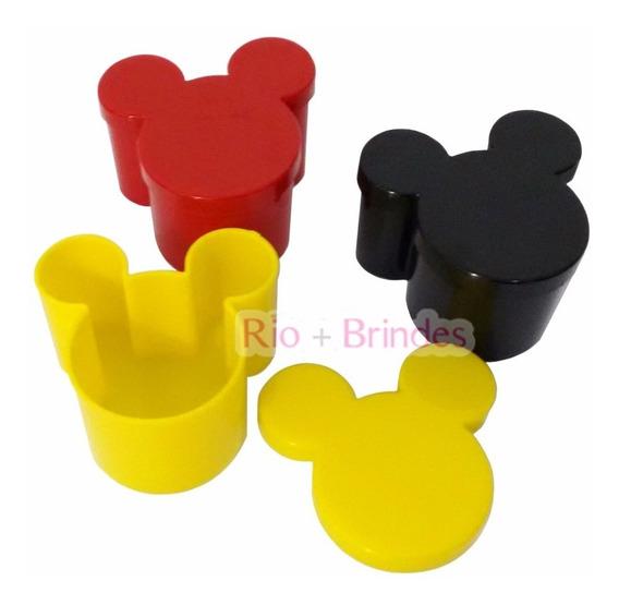 80 Caixinha Acrílica Mickey Minnie 7x7cm Lembrancinha