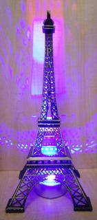 Torre Eiffel Metal 32 Cm Grabado Paris Caja De Regalo Luz