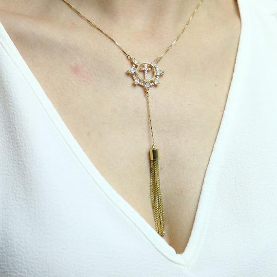 Colar Cruz Gravatinha Dourada Banhado A Ouro 18k