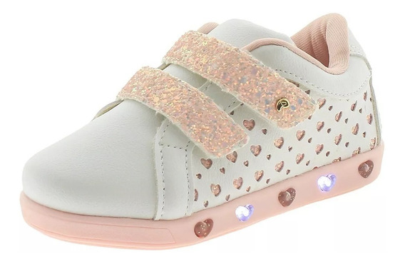 Tênis Infantil Feminino Com Luz Pampili - 165070 Branco/rosa