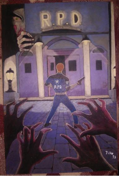 Cuadro Pintado A Mano De Resident Evil