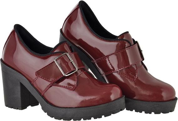 Oxford Sapato Feminino Verniz Salto Tratorado Crshoes 1711