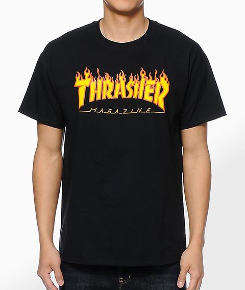 Remera Thrasher Hombre - Modelo Black Flame - Tattoo-skate