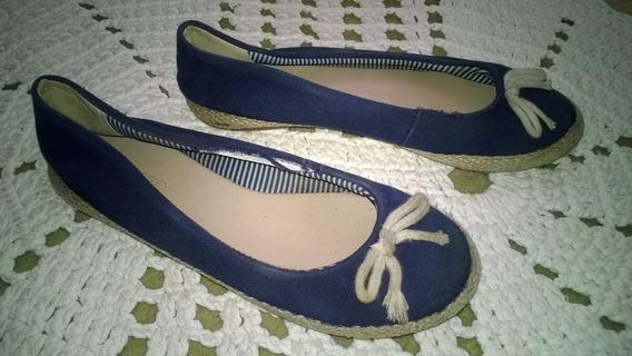 Espadrille Sapatilha Corda Tecido Azul Marinho Tam 34