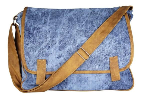Bolsa Transversal De Jeans Com Detalhe E Divisão