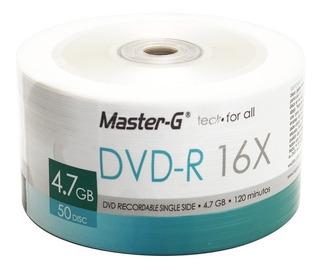 Pack 50 Unidades Dvd-r Virgen Master-g Estampado Logo 16x
