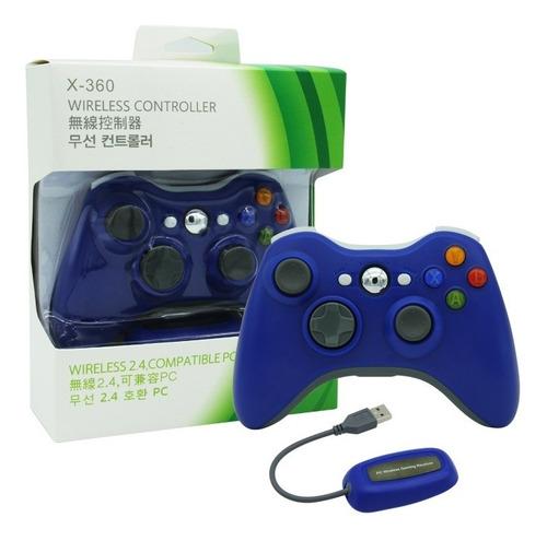 Joystick Inalambrico Xbox 360 Y Pc Receptor Usb Azul