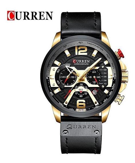 Relógio Masculino Curren Luxo 8329 Dourado Lançamento 2019