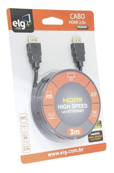 Cabo Hdmi 3 Metros 2.0 4k Ultrahd 4k 3d 19 Pinos Hs2030 ELG