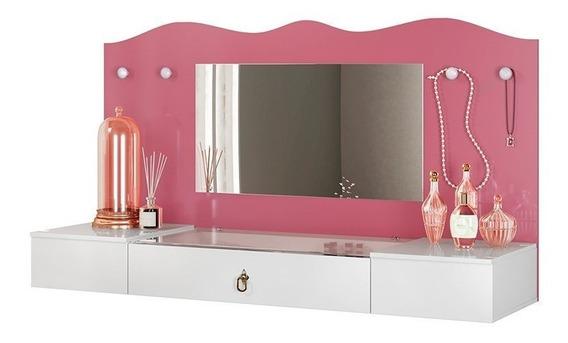 Penteadeira Camarim Suspensa C/ Espelho Vip Branco-pink Flex