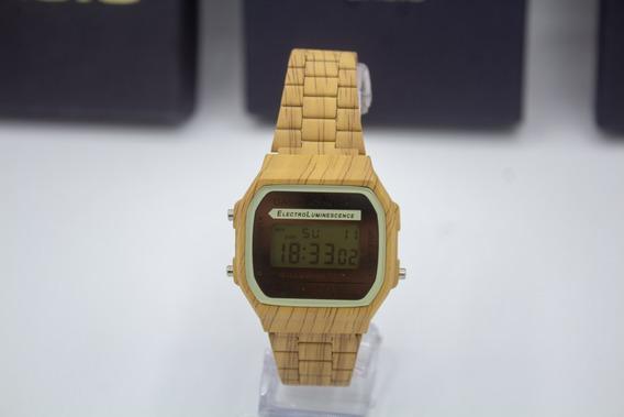 Relógio Casio Dourado Preto Madeira + Brinde Fone De Ouvido