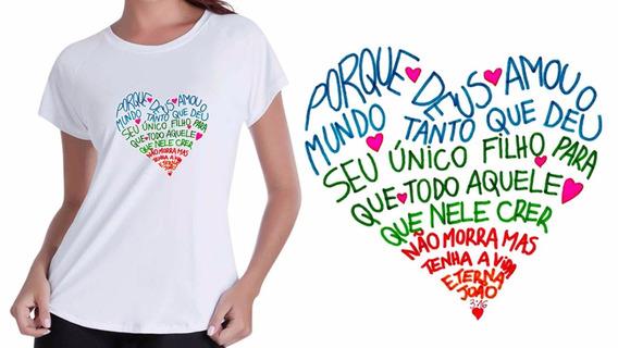 Camiseta Baby Look Gospel Deus Amou O Mundo De Tal Maneira
