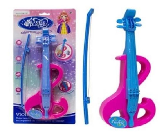 Mini Violino Infantil Eletronico Rosa Com 4 Cordas Arco Rosa