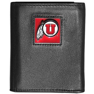 Billetera De Tres Pliegues De Cuero Ncaa Utah Utes Deluxe Em