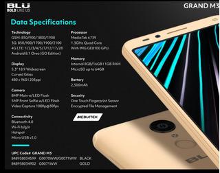 Blu Grand M3 16gb Pantalla 5.3 Android 8.1