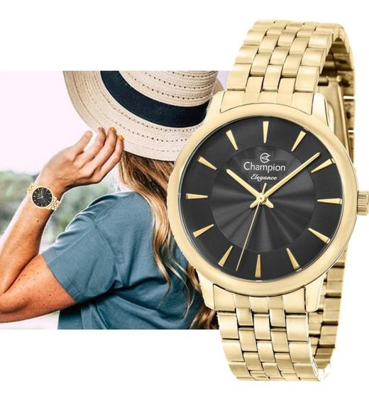 Relógio Champion Feminino Dourado Original Cn27750u