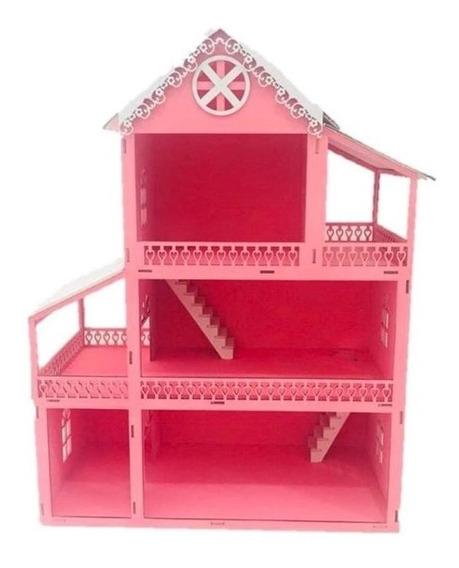 Casa Casinha Bonecas Polly Barbie Madeira Mdf Pintado