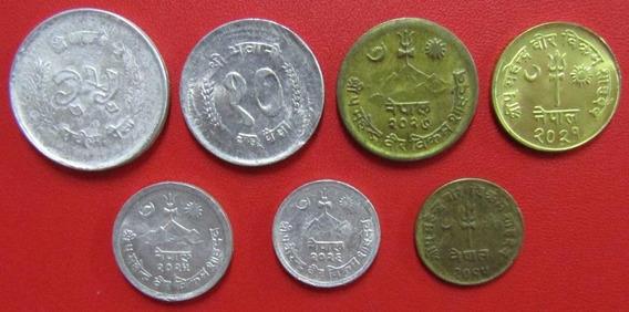 Nepal Rupia Set De 7 Monedas Unc Sin Circular