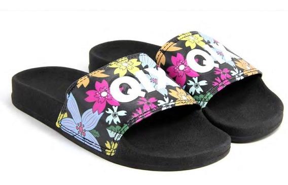 Chinelo Slide Preto/florido 100% Original Qix Promoção